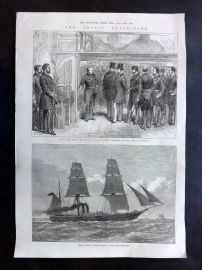 ILN 1875 Antique Print. Arctic Expedition. H. M. S. Valorous Ship